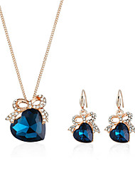 cheap -Women's Necklace Earrings Stylish Heart Bowknot Ladies European Fashion Elegant Rhinestone Earrings Jewelry Yellow / Blue For Evening Party