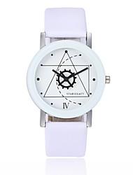 cheap -Couple's Wrist Watch Quartz Quilted PU Leather Black / White Cool Analog Fashion - White Black