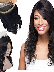 cheap -Peruvian Hair 360 Frontal Wavy Free Part Swiss Lace Human Hair Women's 100% Virgin / Lace Closure Christmas / Christmas Gifts / Wedding