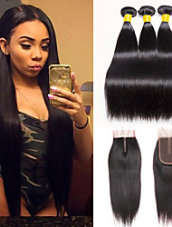 cheap -3 Bundles with Closure Indian Hair Straight Human Hair Unprocessed Human Hair 345 g Natural Color Hair Weaves / Hair Bulk Bundle Hair One Pack Solution 8-20 inch Natural Color Human Hair Weaves New