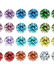 cheap -Women's Crystal AAA Cubic Zirconia Amethyst Stud Earrings Rope Solitaire Ladies Basic Earrings Jewelry Rainbow For Daily 12 Pairs / Citrine