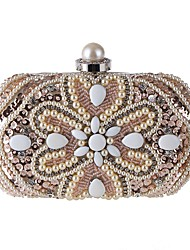cheap -Women's Bags Polyester Evening Bag Pearls Sequin Floral Print Wedding Party Event / Party White Champagne