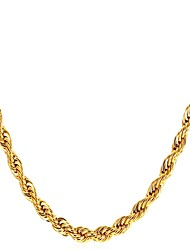 cheap -Men's Choker Necklace Rope Foxtail chain Mariner Chain Fashion Stainless Steel Black Gold Silver 55 cm Necklace Jewelry 1pc For Gift Daily