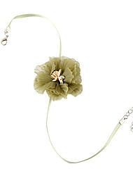 cheap -Women's Choker Necklace Necklace Flower Korean Sweet Fashion Fabric Alloy Green 30 cm Necklace Jewelry 1pc For Masquerade Prom Beach