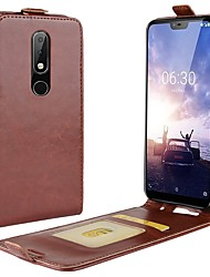 cheap -Case For Nokia Nokia 8 / Nokia 8 Sirocco / Nokia 7 Card Holder / Flip Full Body Cases Solid Colored Hard PU Leather