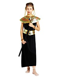 cheap -Pharaoh Costume Girls' Teen Halloween Halloween Carnival Children's Day Festival / Holiday Polyster Outfits Black Solid Colored Halloween