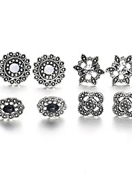 cheap -Women's Stud Earrings Retro Hollow Out Flower Ladies Sweet Fashion Rhinestone Earrings Jewelry Silver For Daily Evening Party 4 Pairs