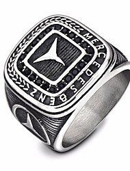 cheap -Men's Statement Ring Signet Ring Cubic Zirconia 1pc Silver Titanium Steel Imitation Diamond Round Punk European Hyperbole Holiday Going out Jewelry Vintage Style Engraved High School Rings Pointer