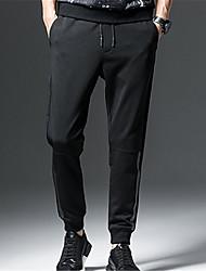 cheap -Men's Basic Daily Harem / Sweatpants Pants - Solid Colored Black XXL XXXL XXXXL