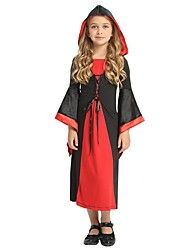 cheap -Cosplay Costume Girls' Kid's Halloween Halloween Carnival Children's Day Festival / Holiday Polyster Outfits Black Solid Colored Halloween