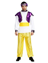 cheap -Arabian Costume Men's Adults Halloween Halloween Carnival Masquerade Festival / Holiday Polyster Outfits Purple Solid Colored Halloween