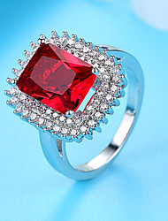 cheap -Women's Band Ring Engagement Ring Ruby Cubic Zirconia 1pc Red Sterling Silver Titanium Square Elegant Vintage Wedding Ceremony Jewelry Vintage Style Cute