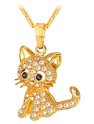 cheap -Women's Pendant Necklace Long Pave Cat Ladies Fashion Copper Gold Silver 55 cm Necklace Jewelry 1pc For Gift Daily