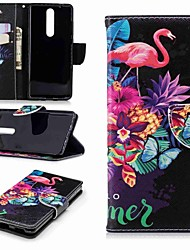 cheap -Case For Nokia Nokia 5 / Nokia 3 / Nokia 2.1 Wallet / Card Holder / with Stand Full Body Cases Flamingo Hard PU Leather