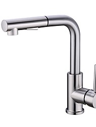 cheap -Kitchen faucet - Single Handle One Hole Nickel Brushed Pull-out / ­Pull-down Deck Mounted Contemporary Kitchen Taps