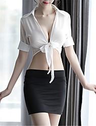 Недорогие -Жен. Аппликация Сексуальные платья Форма / чонсам / Костюм Ночное белье Однотонный Белый Черный L XL XXL / Глубокий V-образный вырез