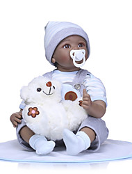 cheap -NPKCOLLECTION NPK DOLL Reborn Doll Girl Doll Baby Boy Baby Girl African Doll 24 inch Newborn lifelike Gift Child Safe Parent-Child Interaction Hand Rooted Mohair Kid's Unisex / Girls' Toy Gift