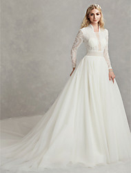 cheap -Ball Gown High Neck Cathedral Train Lace / Tulle Long Sleeve Beautiful Back Made-To-Measure Wedding Dresses with Beading 2020 / Illusion Sleeve