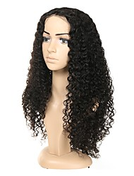 cheap -Human Hair Full Lace Wig Asymmetrical Rihanna style Indian Hair Curly Black Wig 130% 150% 180% Density with Baby Hair Odor Free Designers Woven New Arrival Women's Medium Length Human Hair Lace Wig