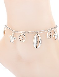 cheap -Ankle Bracelet Ladies Simple Classic Women's Body Jewelry For Carnival Holiday Stylish Alloy Shell Puka Shell Silver 1pc