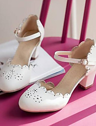 cheap -Women's Heels Chunky Heel Closed Toe PU(Polyurethane) Comfort Summer Beige / Blue / Pink / Daily