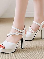 cheap -Women's Sandals Chunky Heel PU Comfort Spring Pink / White / Black / EU39
