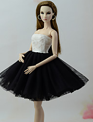 cheap -Doll Dress Dresses For Barbiedoll White / Black Tulle Lace Cotton Blend Dress For Girl's Doll Toy / Kids