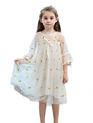 cheap -Kids Girls' Cute Daily Solid Colored Sequins Lace Trims 3/4 Length Sleeve Knee-length Dress Beige