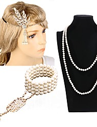 cheap -The Great Gatsby Charleston Vintage 1920s Roaring Twenties Costume Accessory Sets Flapper Headband Women's Classic Style Costume Head Jewelry Pearl Necklace Slave Bracelet Golden / Black & White