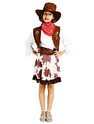 cheap -Cosplay Costume Flower Girl Dress Kids Girls' A-Line Slip Halloween Halloween Carnival Children's Day Festival / Holiday Polyster Brown Carnival Costumes Solid Colored Halloween / Vest / Skirt / Hat