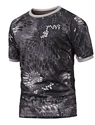 cheap -Men's Camo Hiking Tee shirt Short Sleeve Outdoor Breathable Quick Dry Wear Resistance Tee / T-shirt Top Summer Polyester Crew Neck Camping / Hiking Hunting Outdoor Exercise Camouflage