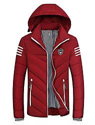 cheap -Men's Daily Striped Regular Padded, Polyester Long Sleeve Winter Hooded Black / Red / Navy Blue XXXXXL / XXXXXXL / 8XL