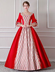 cheap -Rococo Renaissance 18th Century Dress Outfits Party Costume Masquerade Women's Lace Costume Red / White Vintage Cosplay Party Prom 3/4 Length Sleeve Floor Length Long Length Ball Gown Plus Size