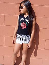 cheap -Toddler Girls' Active Basic Daily Holiday Floral Print Tassel Print Sleeveless Long Clothing Set Black