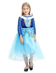 cheap -Princess Costume Flower Girl Dress Kids Girls' A-Line Slip Halloween Halloween Carnival Children's Day Festival / Holiday Polyster Ink Blue Carnival Costumes Solid Colored Halloween / Cravat / Cloak