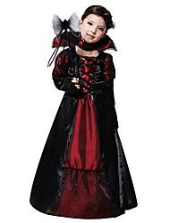 Недорогие -ведьма Костюм Детские Девочки Хэллоуин Рождество Хэллоуин Карнавал Фестиваль / праздник Полиэстер Черный / Красный / черным / Синий с черным Карнавальные костюмы Однотонный Halloween