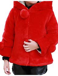 abordables -Enfants Bébé Fille Basique Chic de Rue Quotidien Sports Couleur Pleine Imprimé Bordure en Fourrure Manches Longues Coton Veste & Manteau Rouge