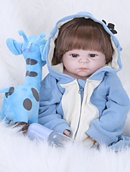cheap -FeelWind Reborn Doll Baby Boy 22 inch Full Body Silicone - lifelike Hand Made Hand Rooted Mohair Tipped and Sealed Nails Artificial Implantation Brown Eyes Kid's Boys' / Girls' Toy Gift
