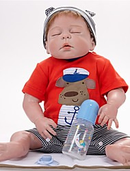 cheap -FeelWind Reborn Doll Baby Boy 22 inch Full Body Silicone - lifelike Hand Made Child Safe Parent-Child Interaction Hand Rooted Mohair Hand Applied Eyelashes Kid's Boys' / Girls' Toy Gift / Floppy Head