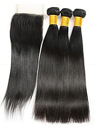 cheap -3 Bundles with Closure Brazilian Hair Straight Human Hair Natural Color Hair Weaves / Hair Bulk One Pack Solution Human Hair Extensions 8-20 inch Natural Human Hair Weaves Classic New Arrival Hot Sale