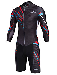 cheap -Malciklo Men's Long Sleeve Triathlon Tri Suit Black Green Orange British Camo / Camouflage Bike Breathable Quick Dry Winter Sports Coolmax® Lycra Classic Triathlon Clothing Apparel / High Elasticity