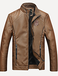 cheap -Men's Daily Basic Winter / Fall & Winter Regular Leather Jacket, Solid Colored Stand Long Sleeve PU Brown / Black / Khaki