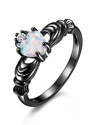 cheap -Women's Statement Ring Promise Ring Opal Cubic Zirconia Moonstone 1pc Black Copper Gold Plated Circle Ladies Punk Casual / Sporty Christmas Evening Party Jewelry Hollow Lovely