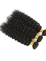 Недорогие -3 Связки Бразильские волосы Kinky Curly Натуральные волосы Человека ткет Волосы Пучок волос Накладки из натуральных волос 8-28 дюймовый Естественный цвет Ткет человеческих волос / 8A