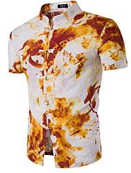 cheap -Men's Daily Basic Shirt - Geometric Standing Collar Blue / Short Sleeve