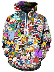 cheap -Men's Plus Size Active / Exaggerated Long Sleeve Loose Hoodie - 3D / Cartoon Print Hooded Black S / Fall / Winter