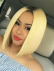 cheap -Synthetic Lace Front Wig Straight Bob Middle Part Lace Front Wig Ombre Short Light Blonde Synthetic Hair Women's Heat Resistant Women Dark Roots Ombre