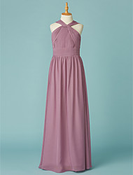 cheap -A-Line V Neck Floor Length Chiffon Junior Bridesmaid Dress with Ruffles