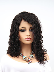 cheap -Remy Human Hair Lace Front Wig Asymmetrical Rihanna style Brazilian Hair Afro Curly Black Wig 130% 150% 180% Density with Baby Hair Women Easy dressing Sexy Lady Natural Women's 8-14 Human Hair Lace