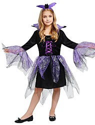 cheap -Witch Costume Girls' Teen Halloween Halloween Carnival Children's Day Festival / Holiday Polyster Outfits Purple Solid Colored Halloween